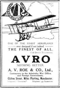 AVRO - Finest Of All advert. http://www.aviationancestry.com/Avro/1910_1929/1910_1929-Company-1914-6.html.