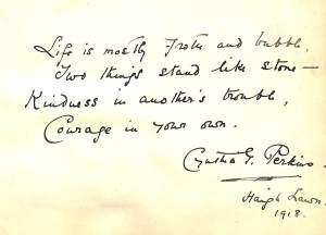 Cynthia Perkins' autograph