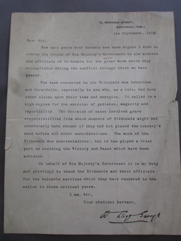 Lloyd George thank you note