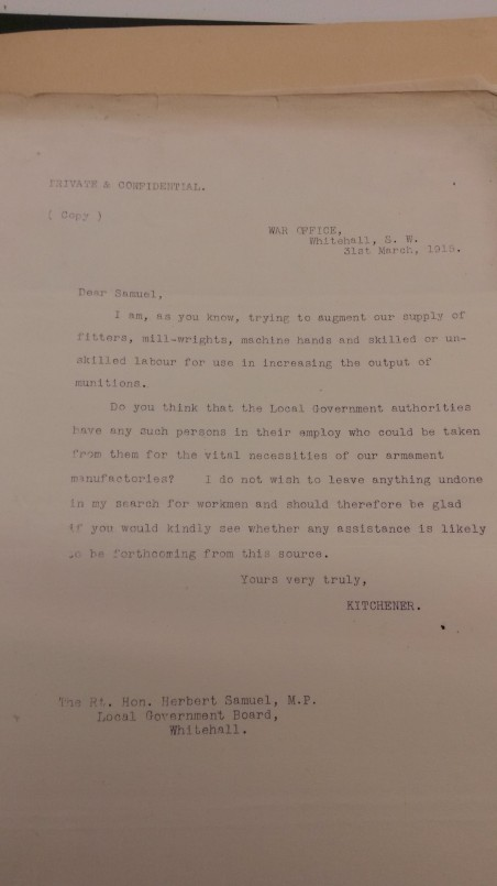 Kitchener's letter requesting industrial conscription