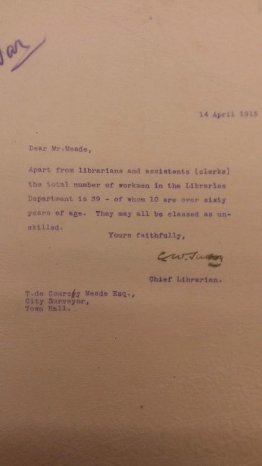 Memo regarding Library Staff for industrial conscription