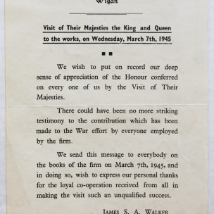 Notification of the Royal Visit, 1945.
