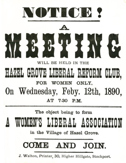 Poster for the first meeting of the Hazel Grove Women's Liberal Association
